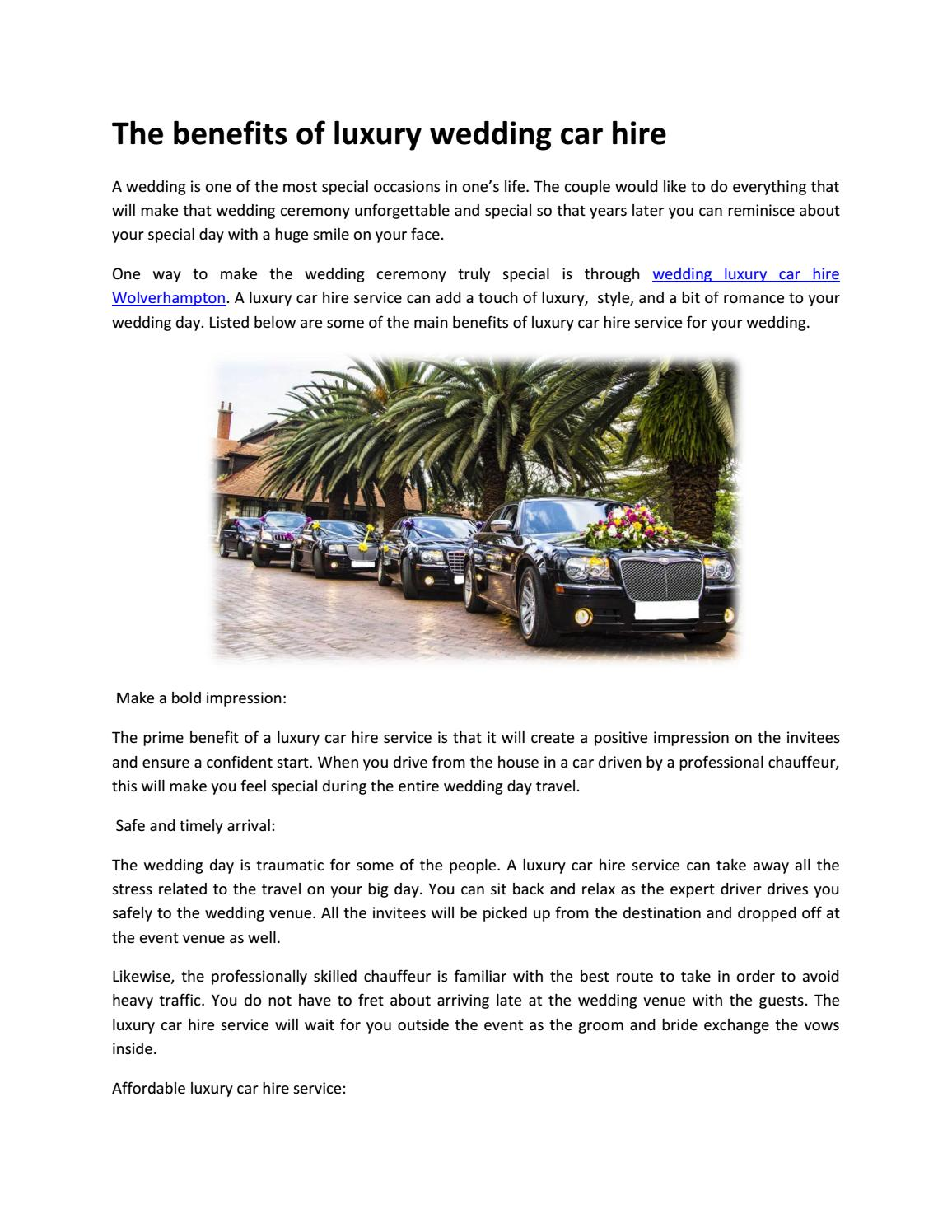The Benefits Of Luxury Wedding Car Hire By Jamesethan Issuu