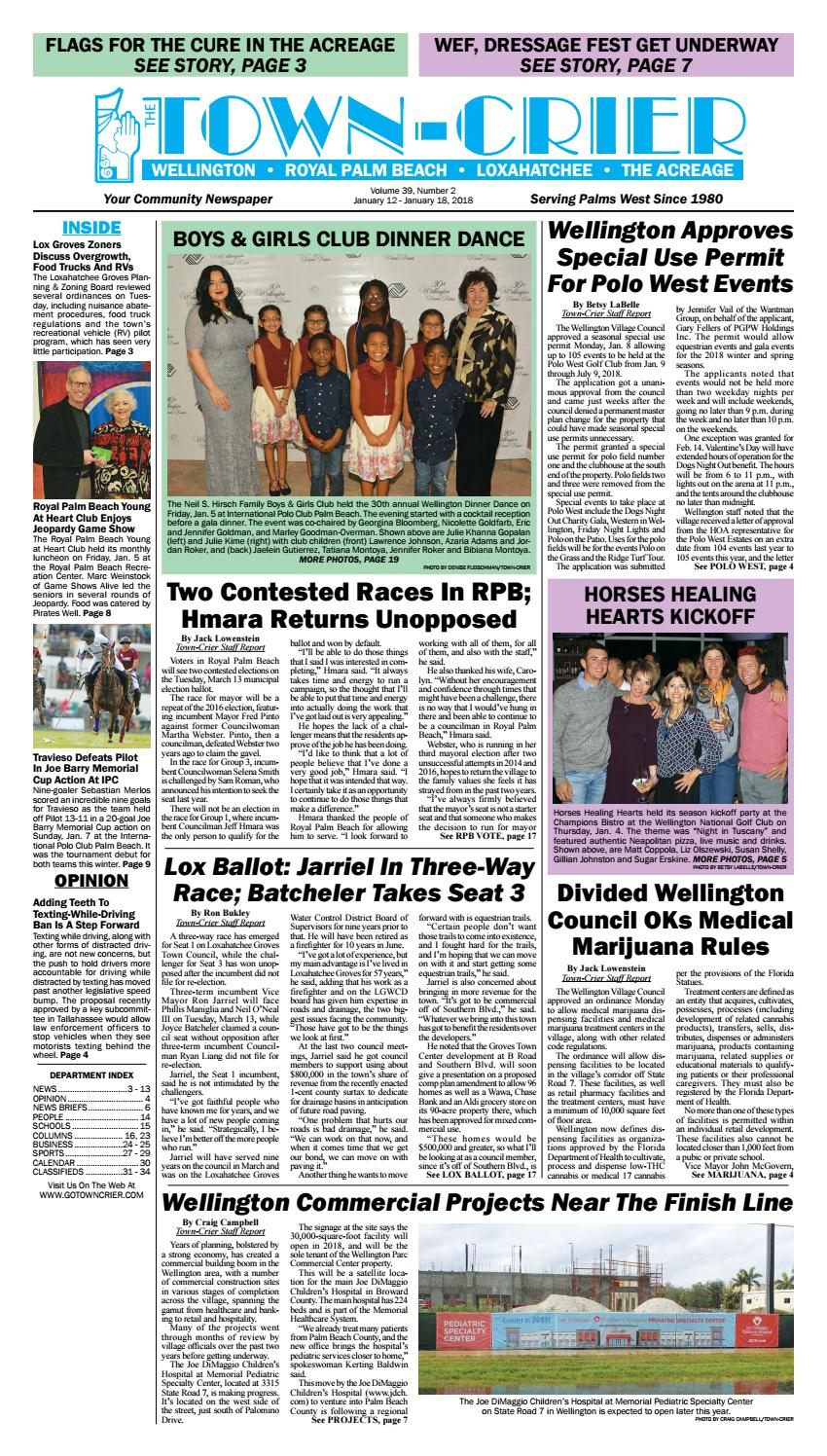 Town-Crier Newspapers January 12, 2018 by Wellington The