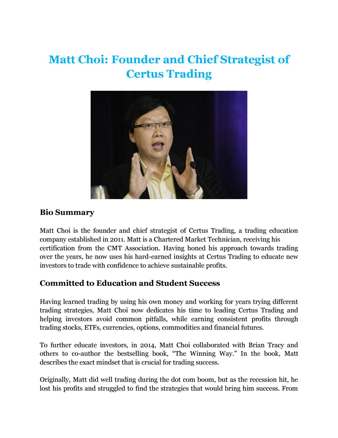 Biography of matt choicertus trading by r nolan issuu 1betcityfo Image collections