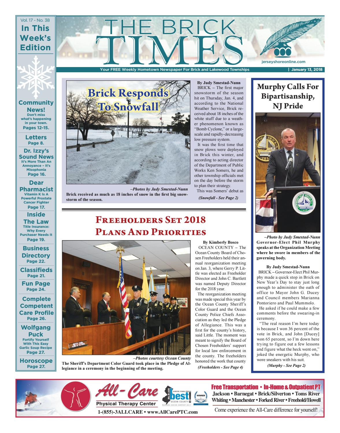 2018 01 13 The Brick Times By Micromedia Publications Jersey