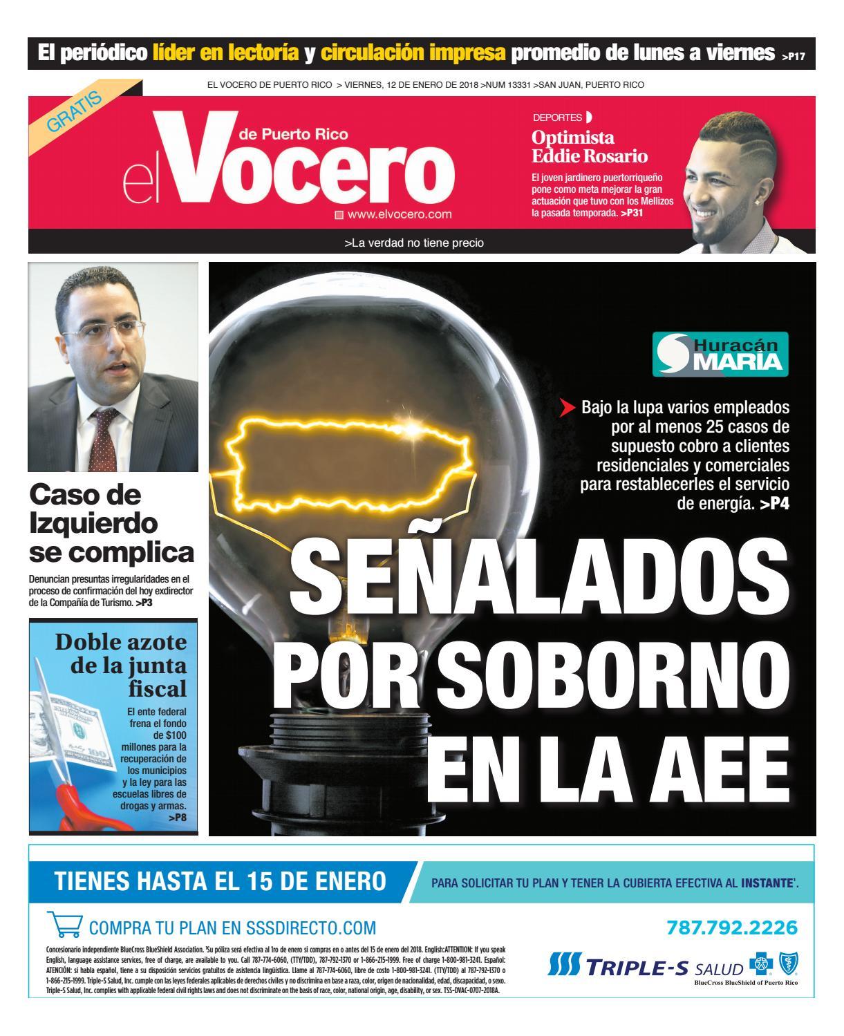 Edición del 12 de enero de 2018 by El Vocero de Puerto Rico - issuu