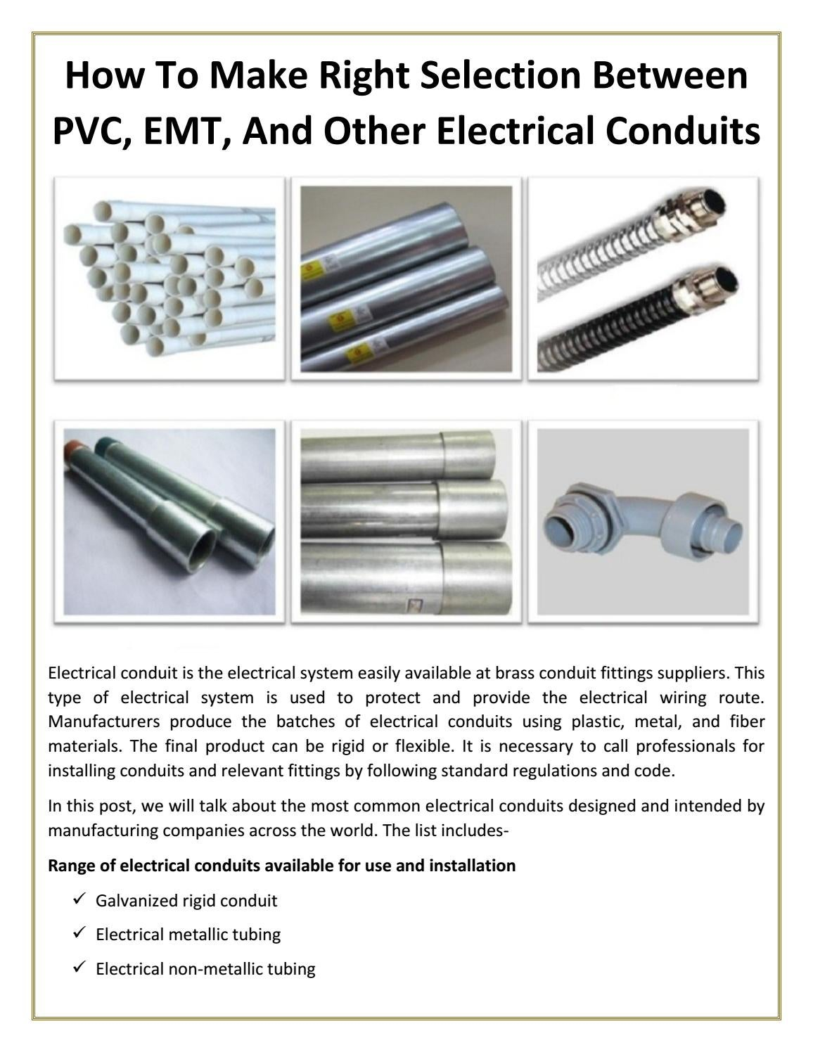 How To Make Right Selection Between Pvc Emt And Other Electrical Conduit Pipe For Electric Wire Protection China Tube Conduits By Pallega Issuu