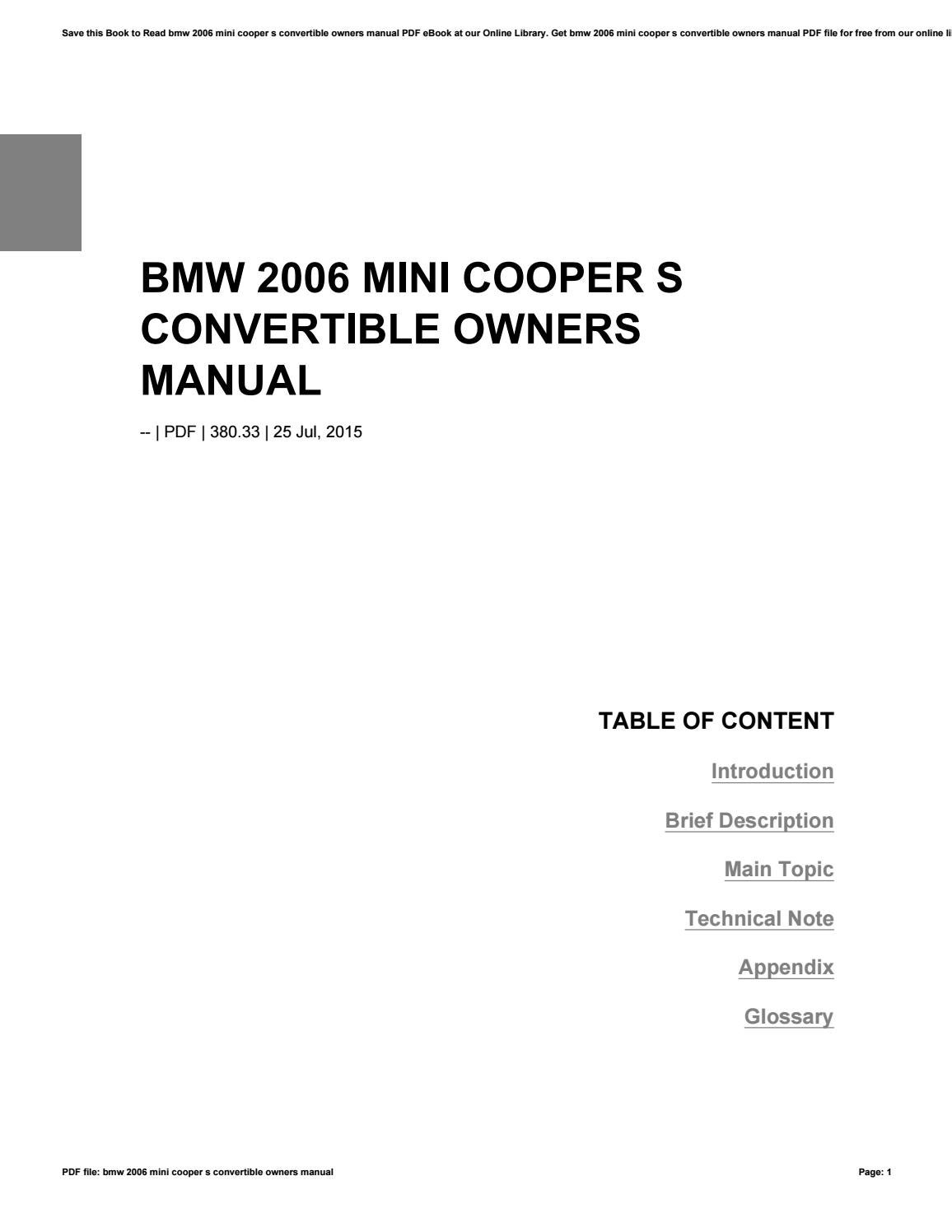 Bmw 2006-mini-cooper-s-convertible-owners-manual.