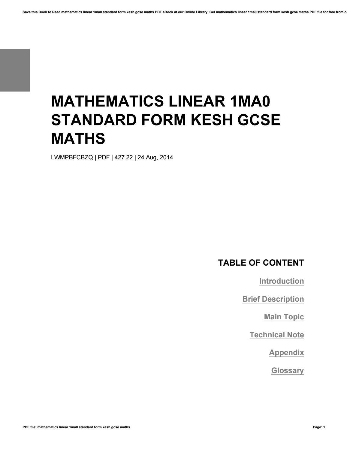 Mathematics Linear 1ma0 Standard Form Kesh Gcse Maths By Ppetw89 Issuu