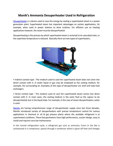 Manik's ammonia desuperheater used in refrigeration by