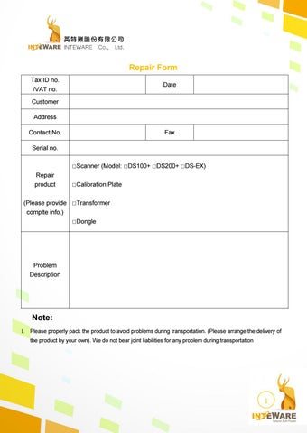 Scanner Repair Form By Inteware  Issuu