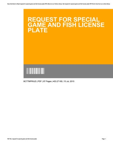 Request For Special Game And Fish License Plate By Smallker13 Issuu