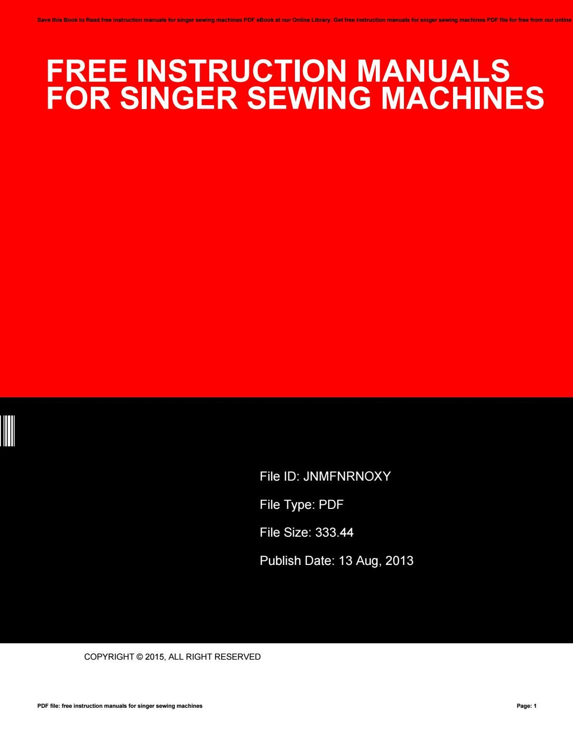 Singer sewing machine repair manuals free.