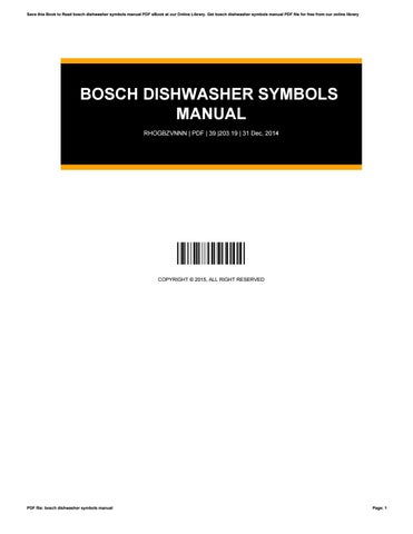 Bosch Dishwasher Symbols Manual By Toon351 Issuu