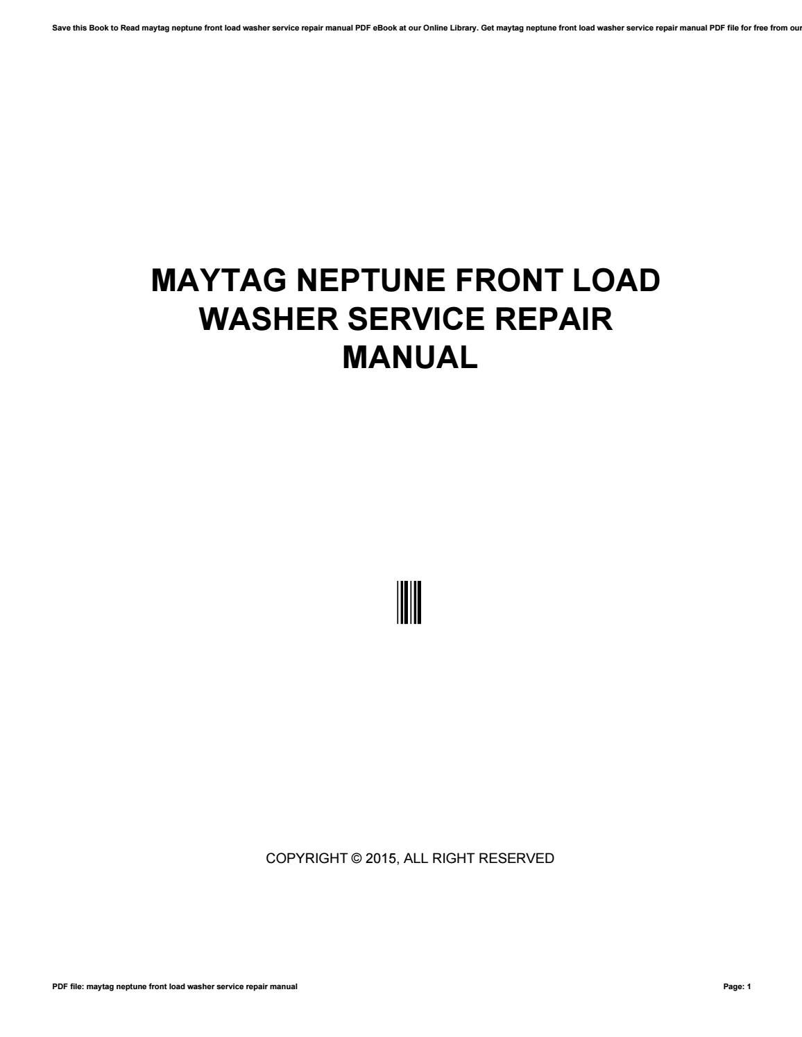 maytag front load washer instructions