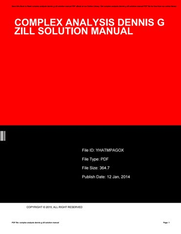 Manual zill complex solution by pdf analysis