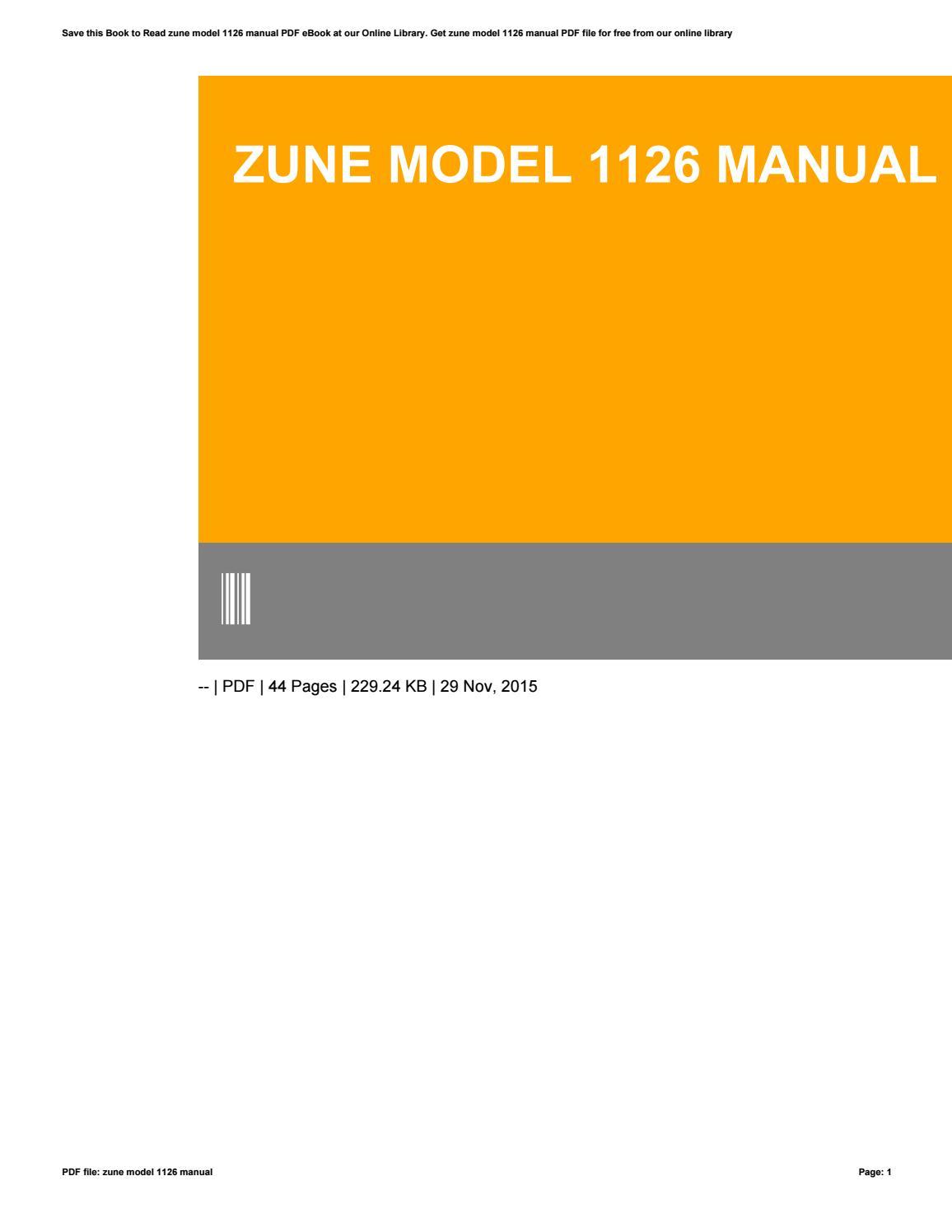 Zune model 1126 manual.