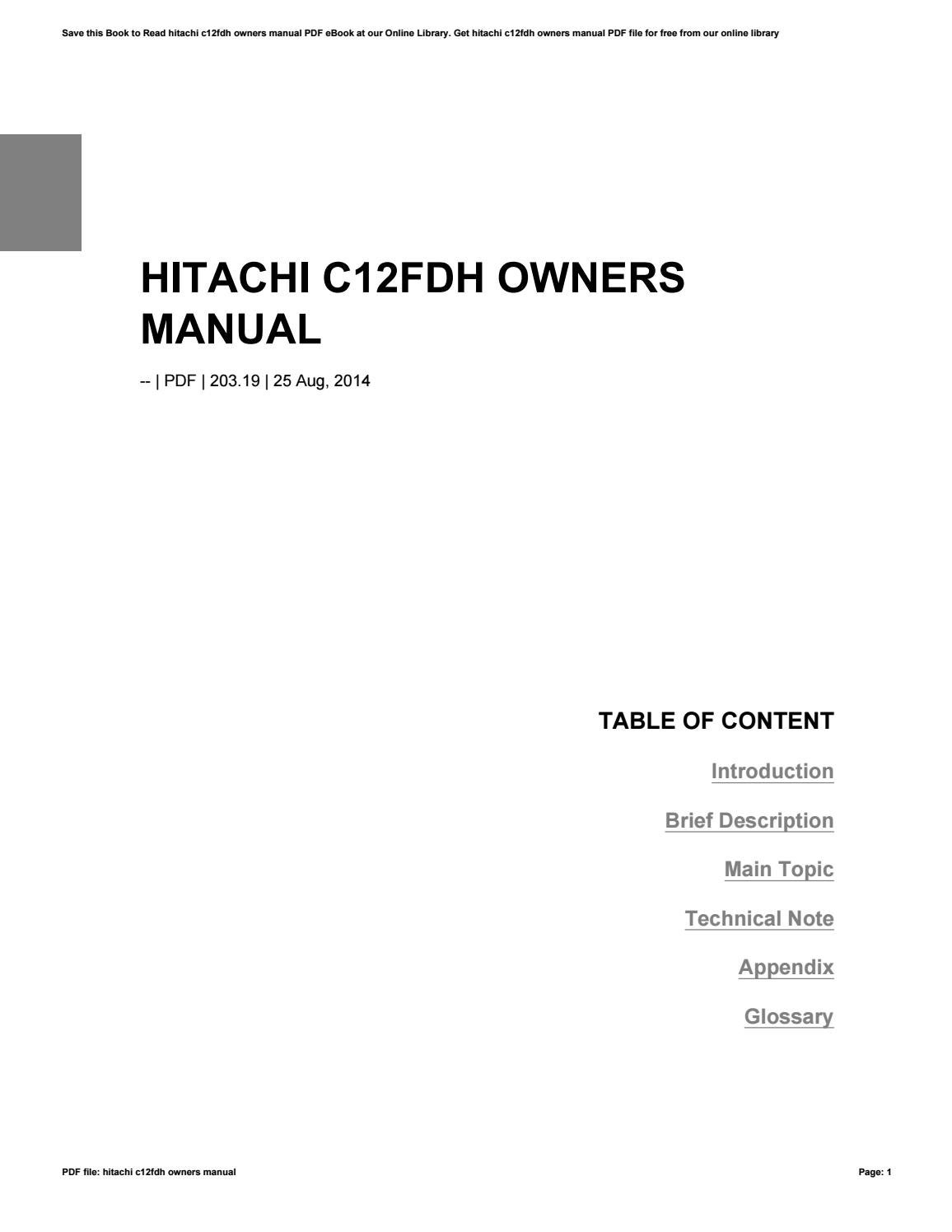 Hitachi manual pdf array hitachi c12fdh owners manual by squirtsnap92 issuu rh issuu fandeluxe Choice Image