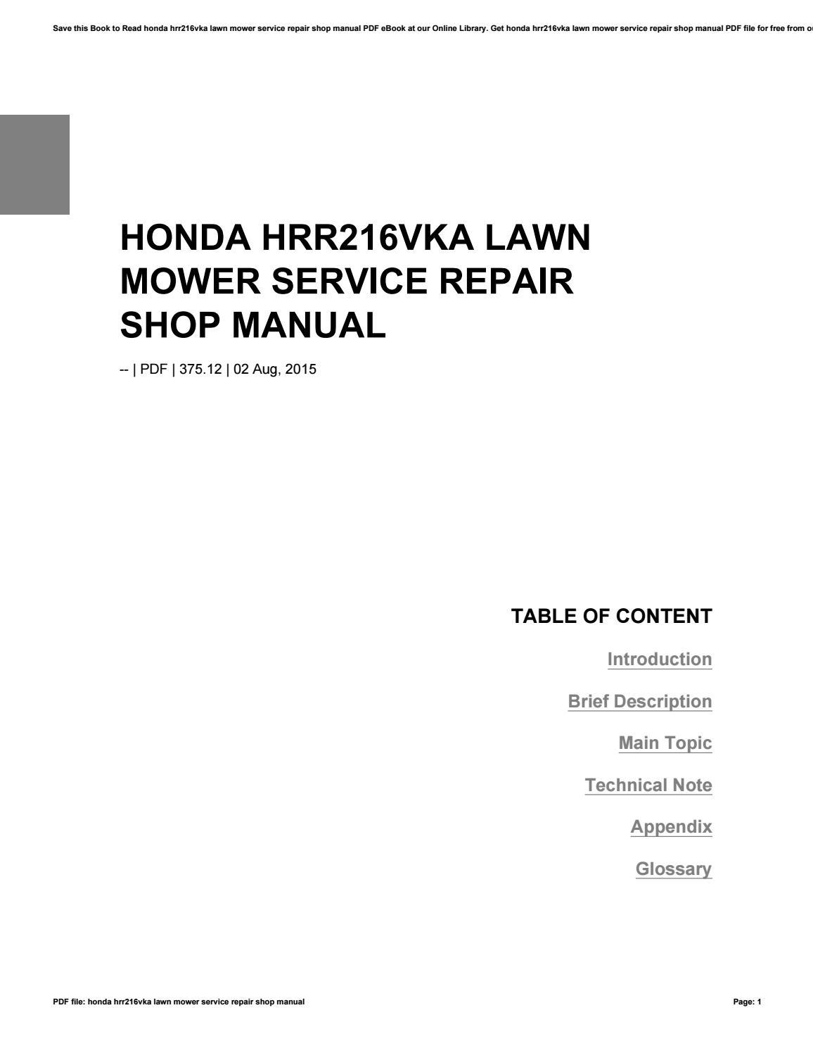 Honda hrr216vka lawn mower service repair shop manual by reddit27 - issuu