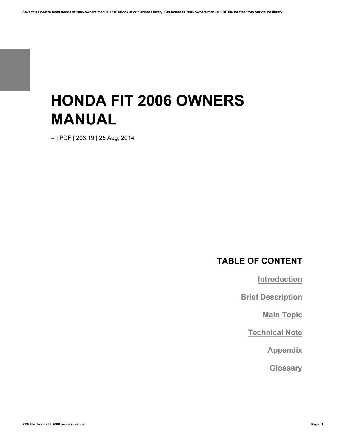 honda fit 2006 owners manual by reddit27
