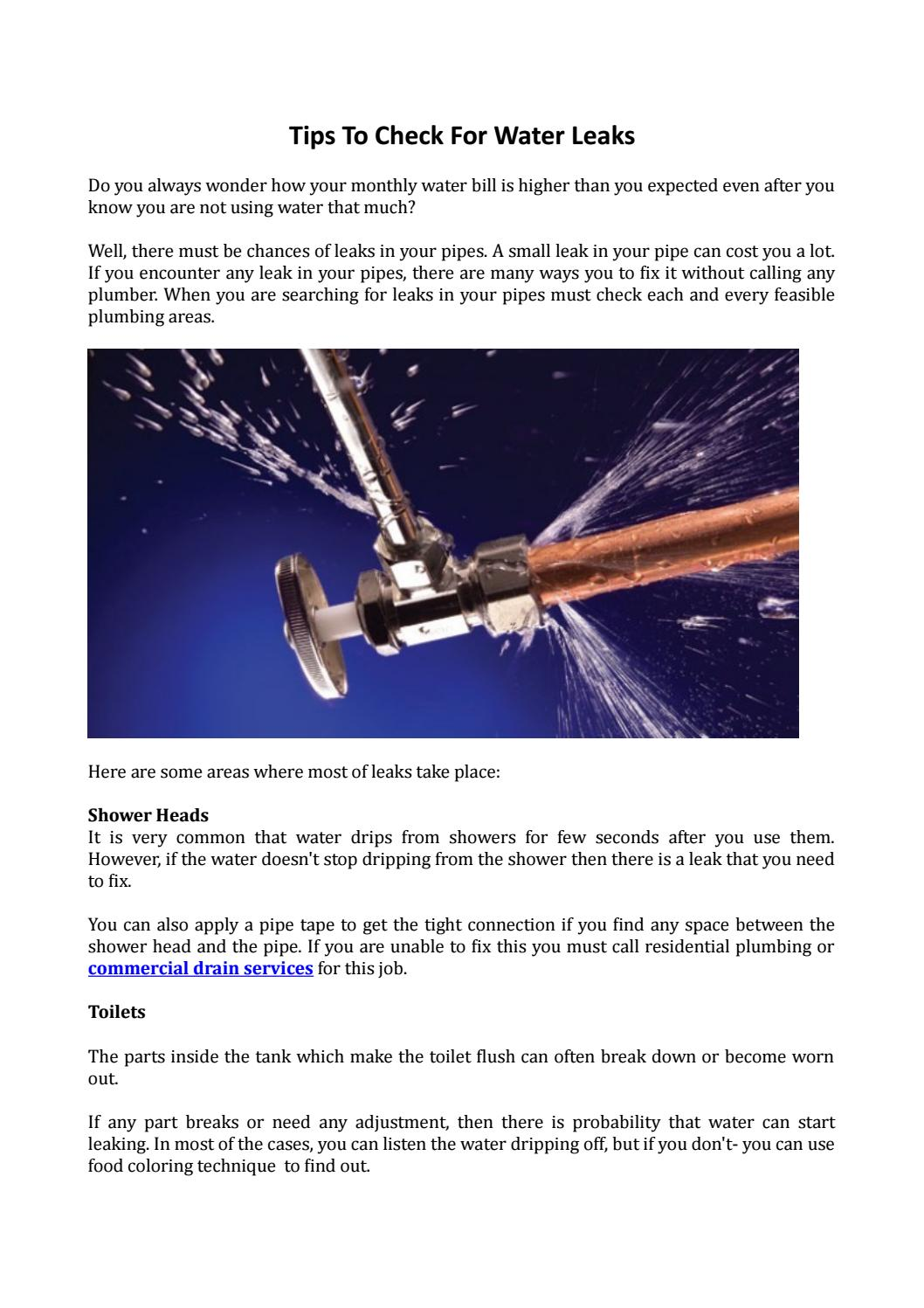 Tips to check for water leaks by The Hamilton Group - issuu