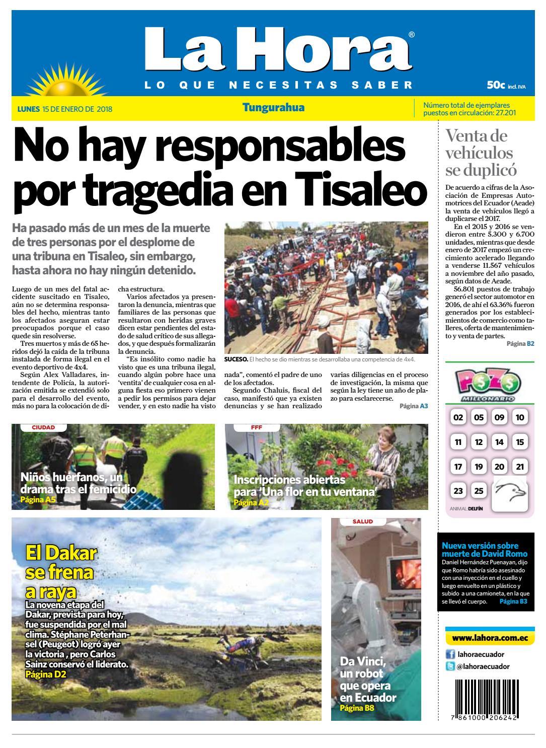 Ambato 15 de enero del 2018 by Diario La Hora Ecuador - issuu