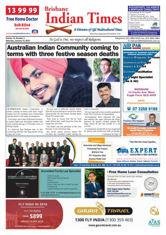 Brisbane indian times january 2018 by umesh chandra issuu 13 99 99 brisbane free home doctor bulk billed no cost to you solutioingenieria Images