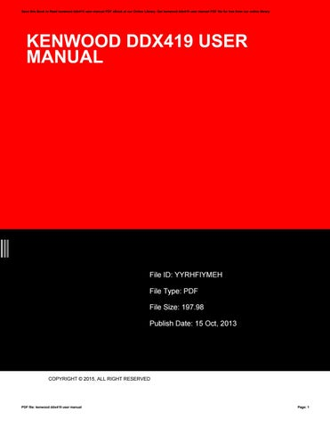 kenwood ddx419 user manual
