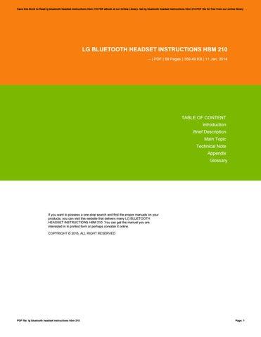 Lg Bluetooth Headset Instructions Hbm 210 By Aju98 Issuu