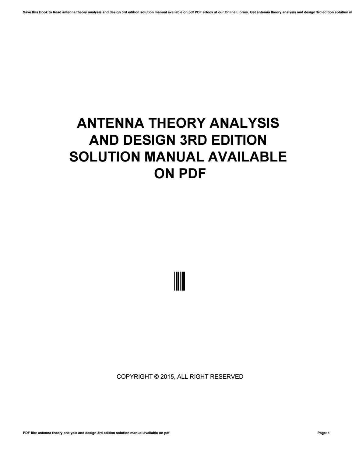 Antenna theory analysis and design 3rd edition solution