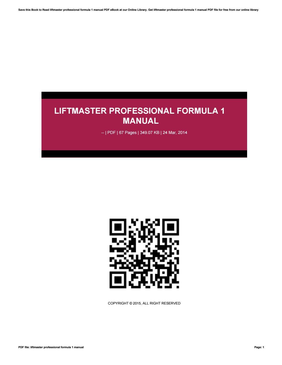 Liftmaster Professional Formula 1 Manual By 4tb03 Manual Guide