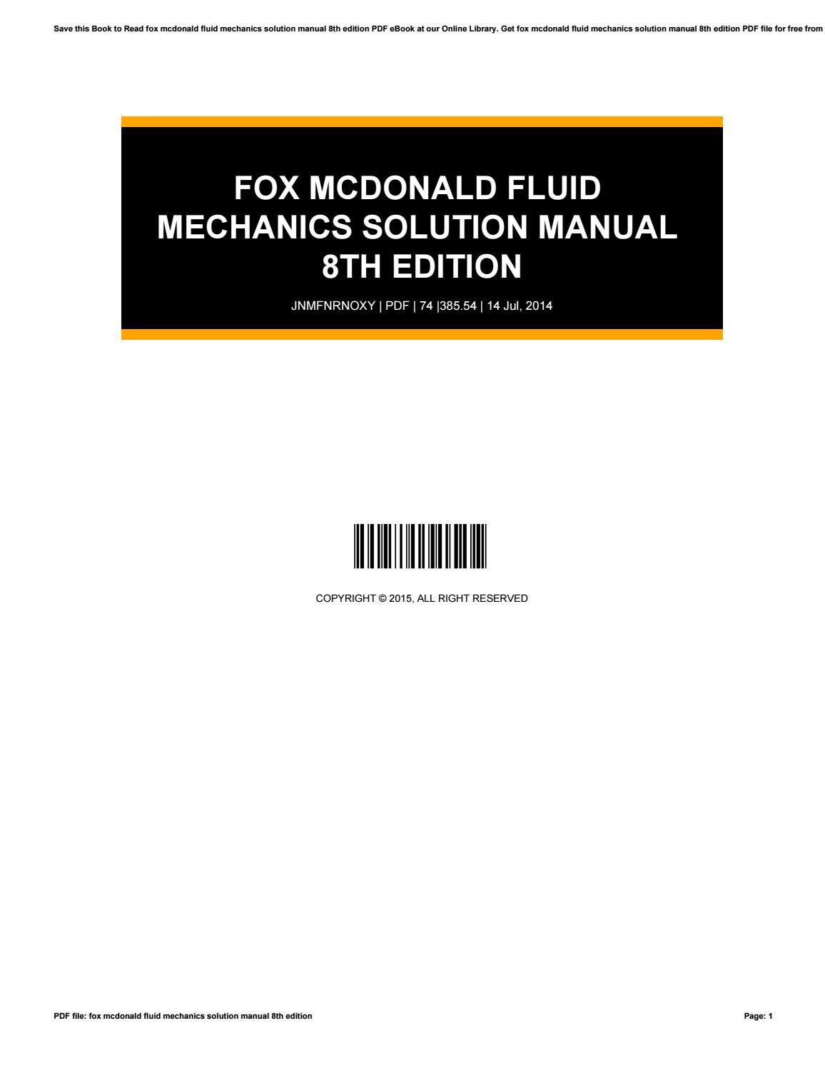 Fox mcdonald fluid mechanics solution manual 8th edition by drivetagdev525  - issuu