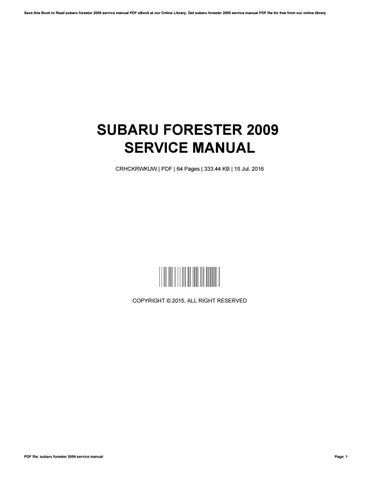 Subaru legacy & forester online service manual, 2000-2009.