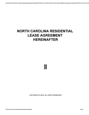 North Carolina Residential Lease Agreement Hereinafter By