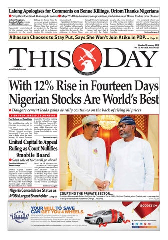 Monday 15th January 2018 by THISDAY Newspapers Ltd - issuu