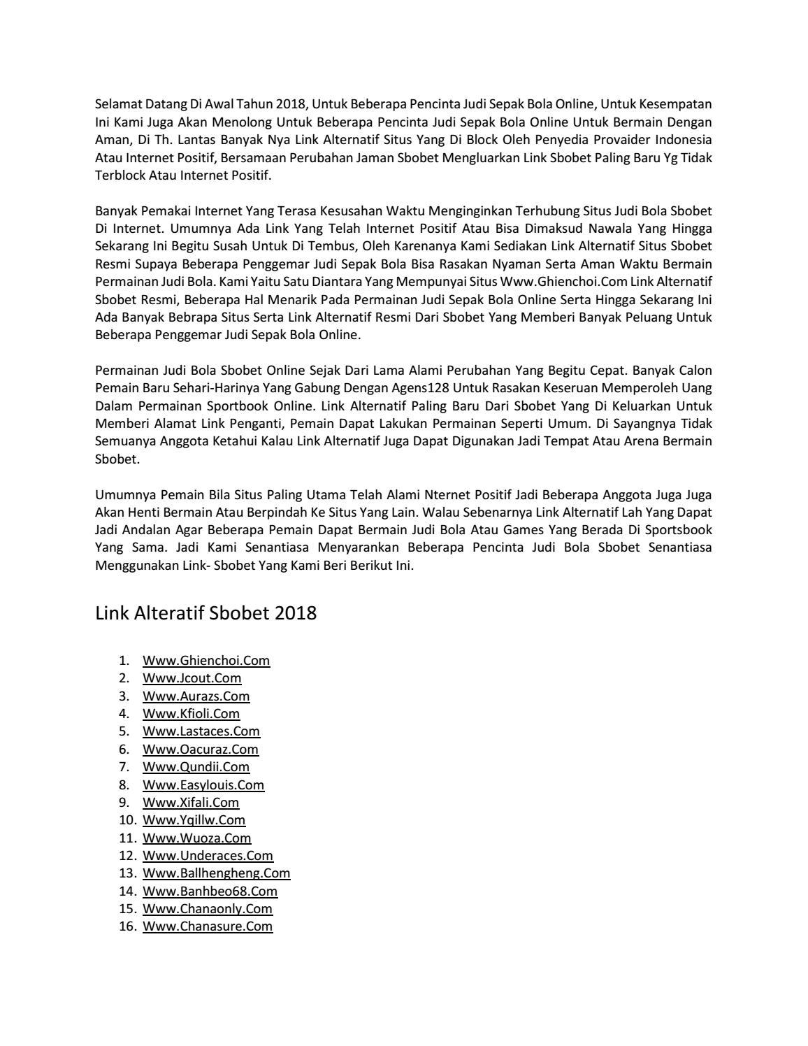 Link Alternatif Sbobet Terbaru 2018 Di Indonesia By Agens128pialadunia2018 Issuu