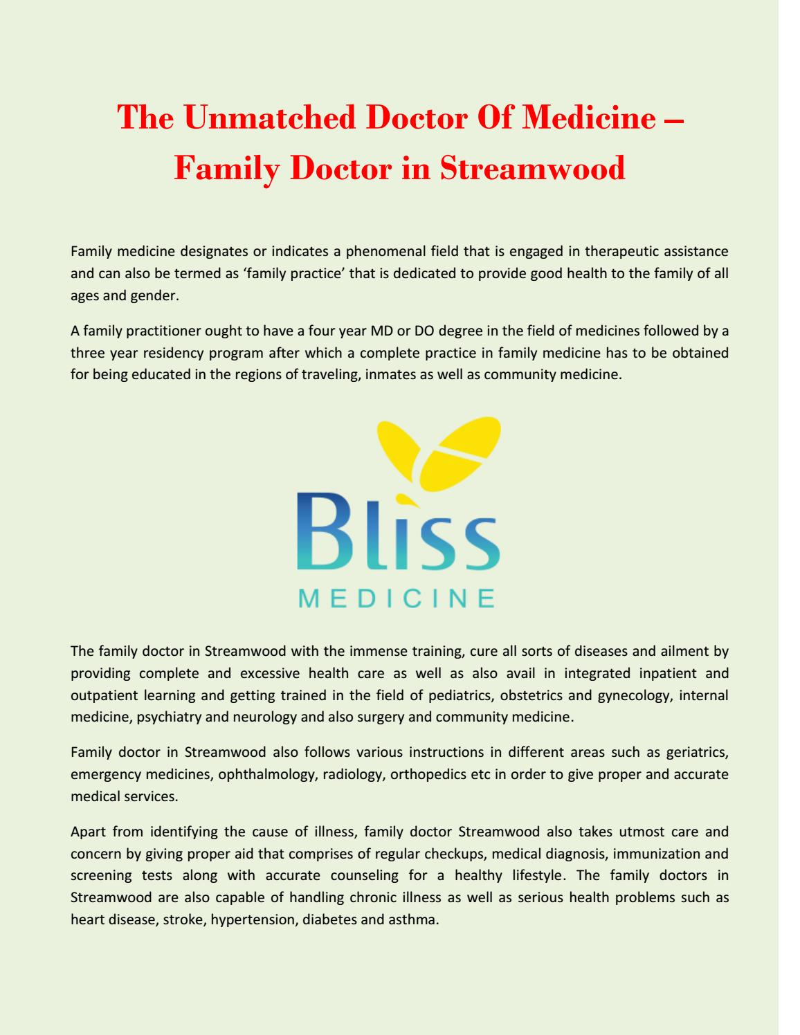 The Unmatched Doctor Of Medicine – Family Doctor in Streamwood by