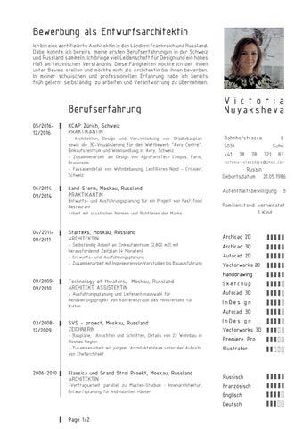 dabei konnte ich bereits meine ersten berufserfahrungen in der schweiz und russland sammeln ich bringe viel leidenschaft fr - Lebenslauf Schweiz