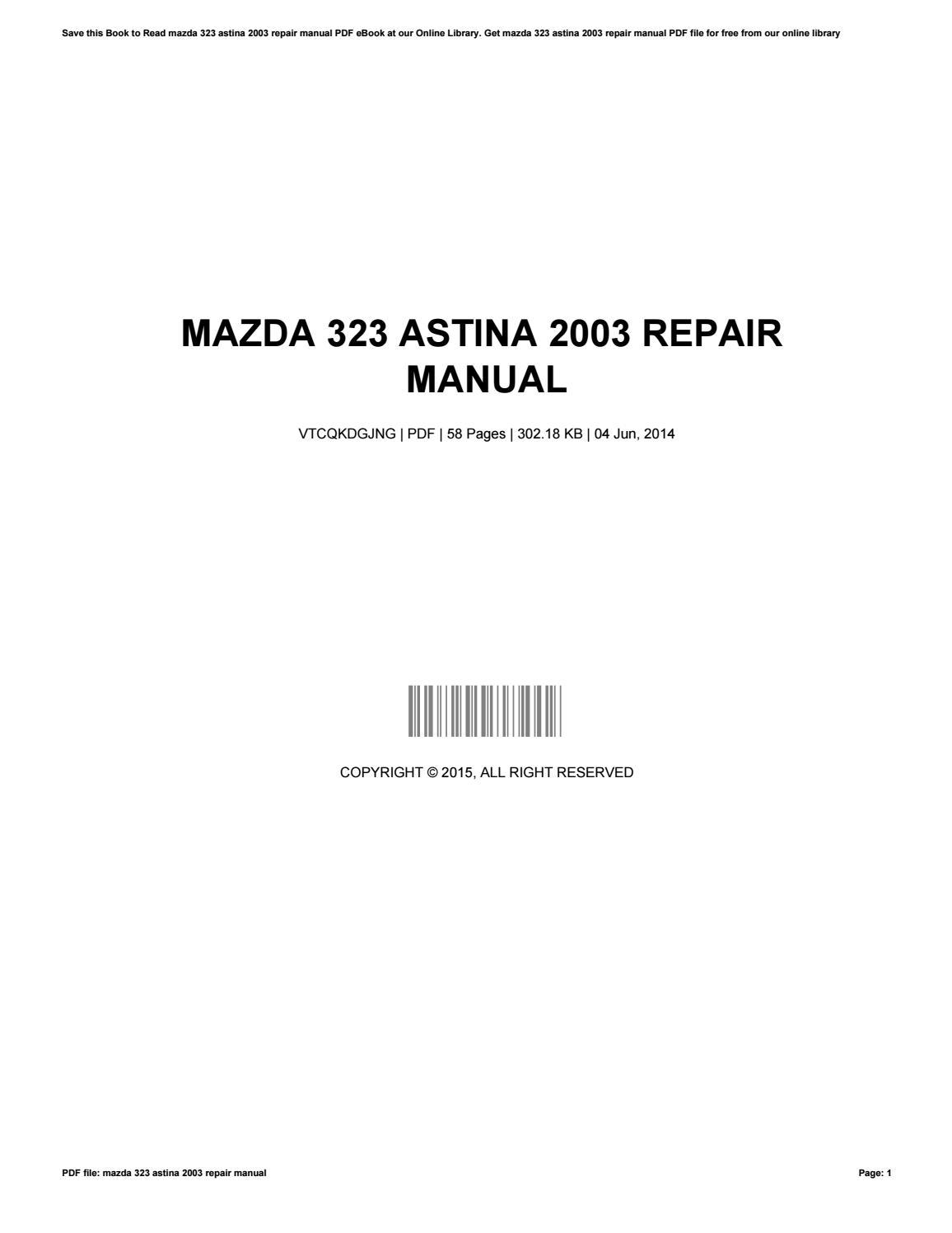 mazda 323 astina workshop manual pdf