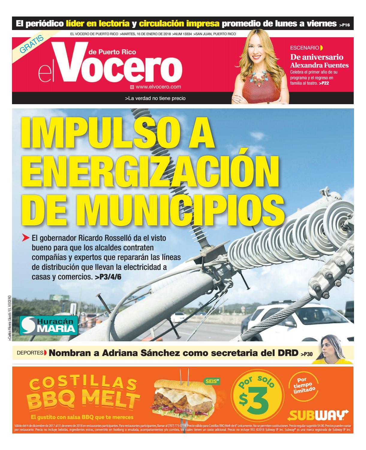 Edición del 16 de enero de 2018 by El Vocero de Puerto Rico - issuu e64f511ac77c9