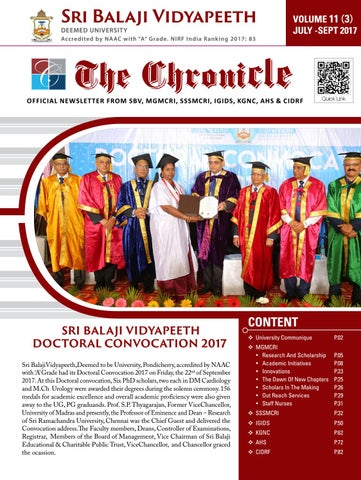 The chronicle july sept 2017 vol 11 issue 3 by Dept of Medical