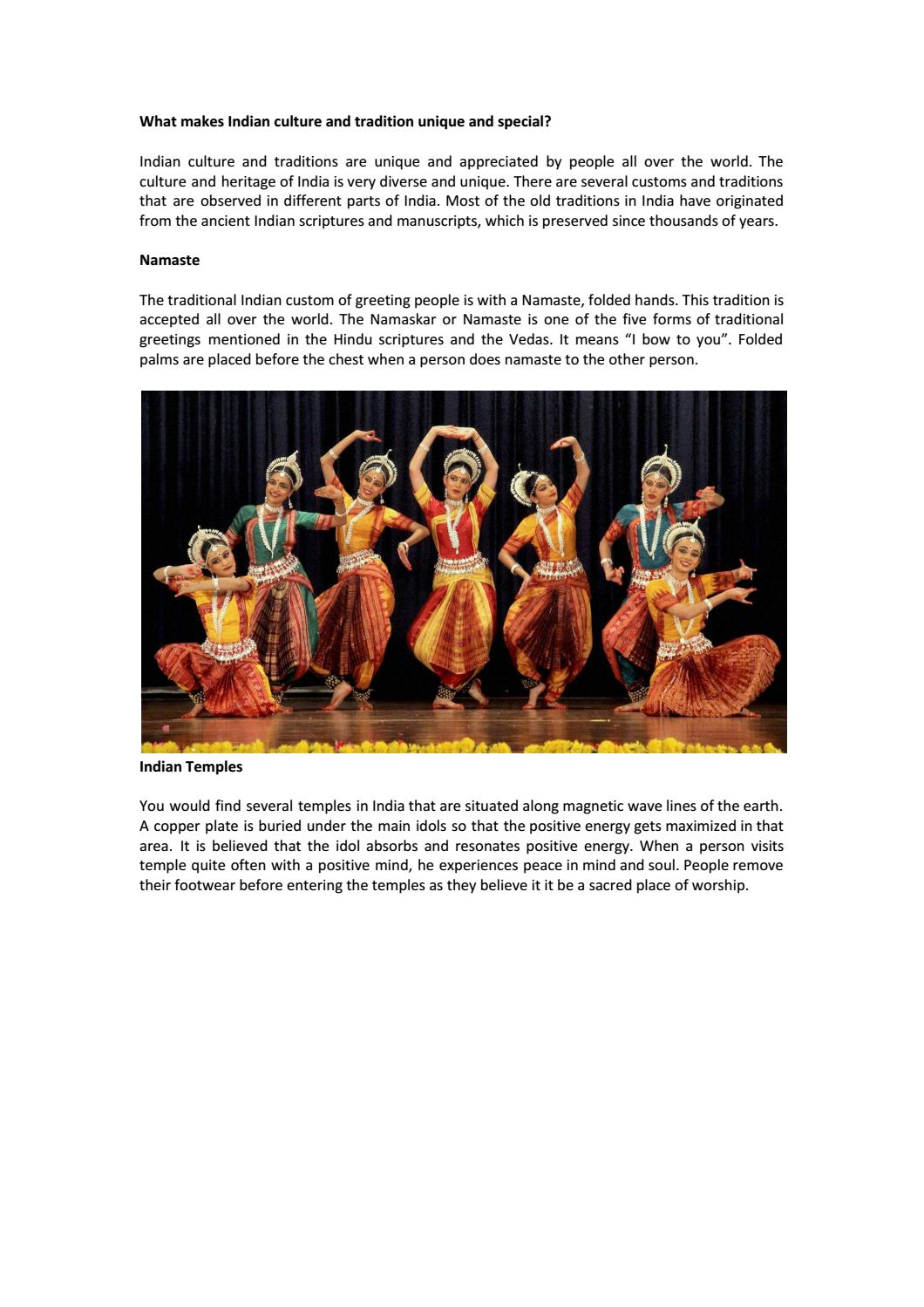 What Makes Indian Culture And Tradition Unique And Special By