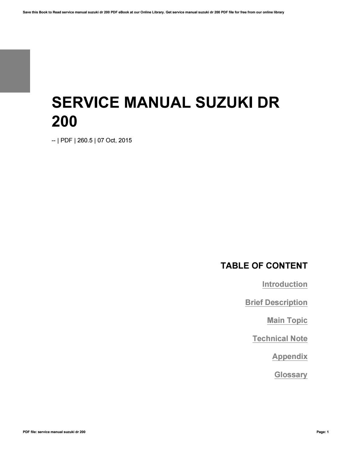 service manual suzuki dr 200 by apssdc31 issuu 2006 suzuki dr200se service manual 2004 suzuki dr 200 service manual