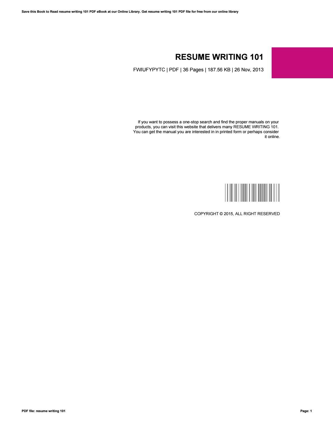 Resume Writing 101 By U565 Issuu