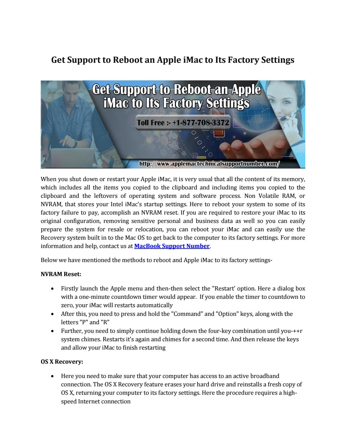 Get Support to Reboot an Apple iMac to Its Factory Settings