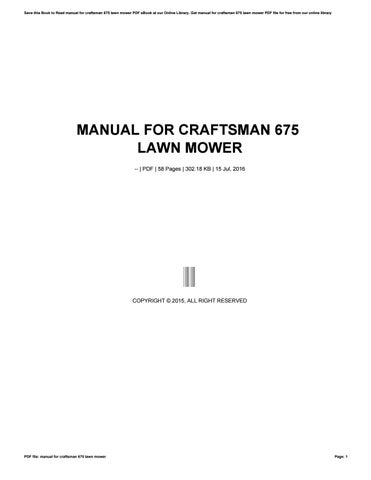 Craftsman lawn mower user manuals by toon41 issuu cover of manual for craftsman 675 lawn mower fandeluxe Image collections