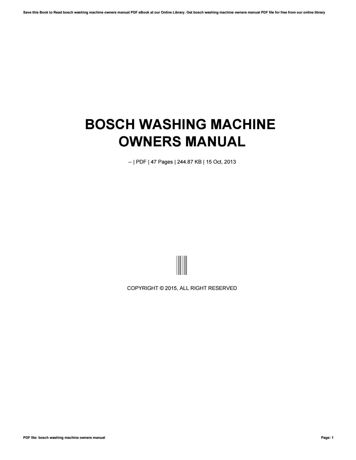 Owners manual for Bosch washing Machine to Use At the Gym