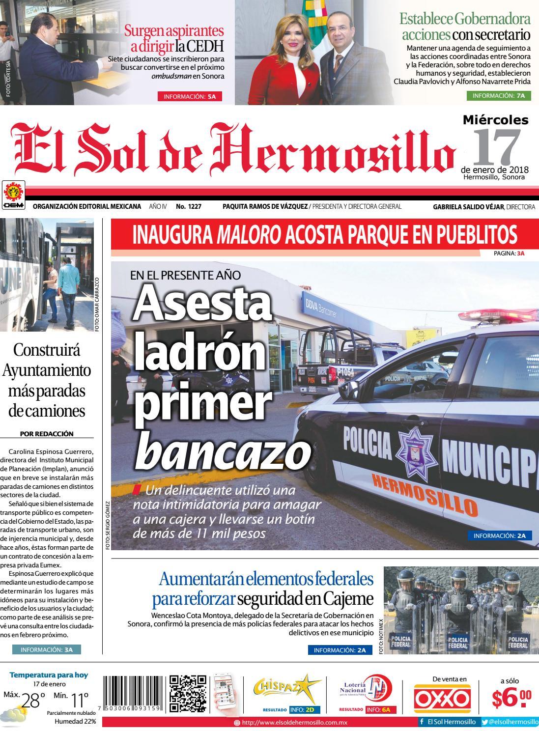 Edicion impresa 17 enero 2018 by El Sol de Hermosillo - issuu