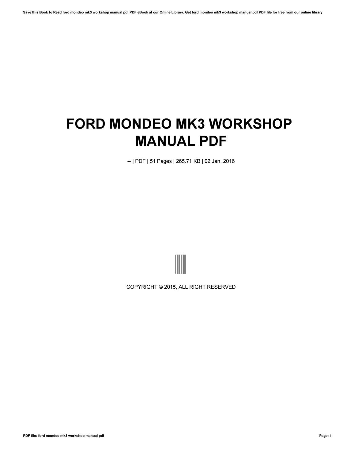 Manual Ford Mondeo Mk3 Pdf 2019 Ebook Library