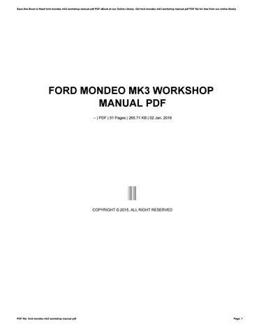 Ford mondeo mk3 service manual pdf.