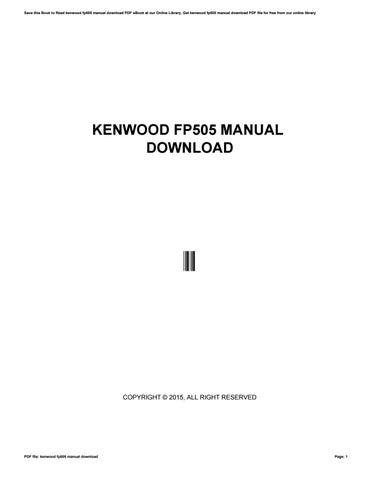 kenwood fp505 manual