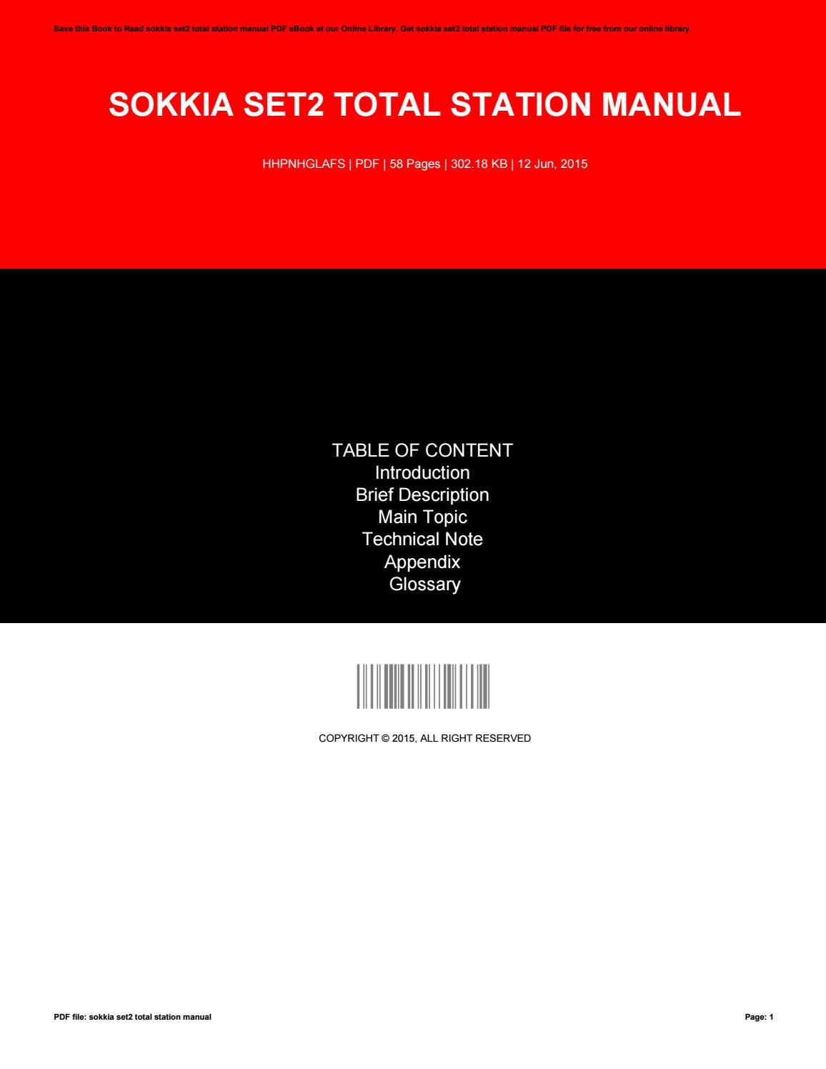Sokkia Set2 Total Station Manual By O603 Issuu