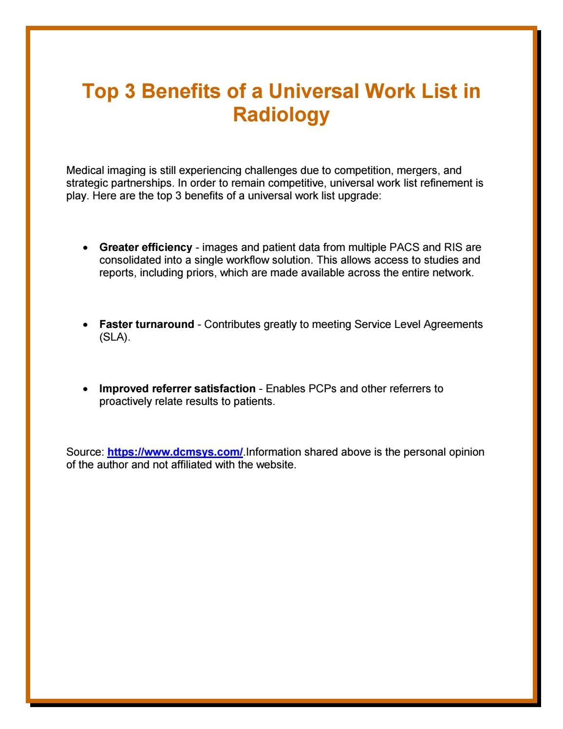 Top 3 Benefits Of A Universal Work List In Radiology By Franklinhall