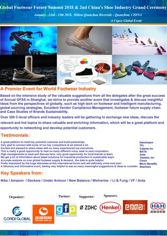 Global Footwear Future Summit 2018 2nd China S Shoe Industry Grand Ceremony January 23rd 25th Hilton Quanzhou Riverside