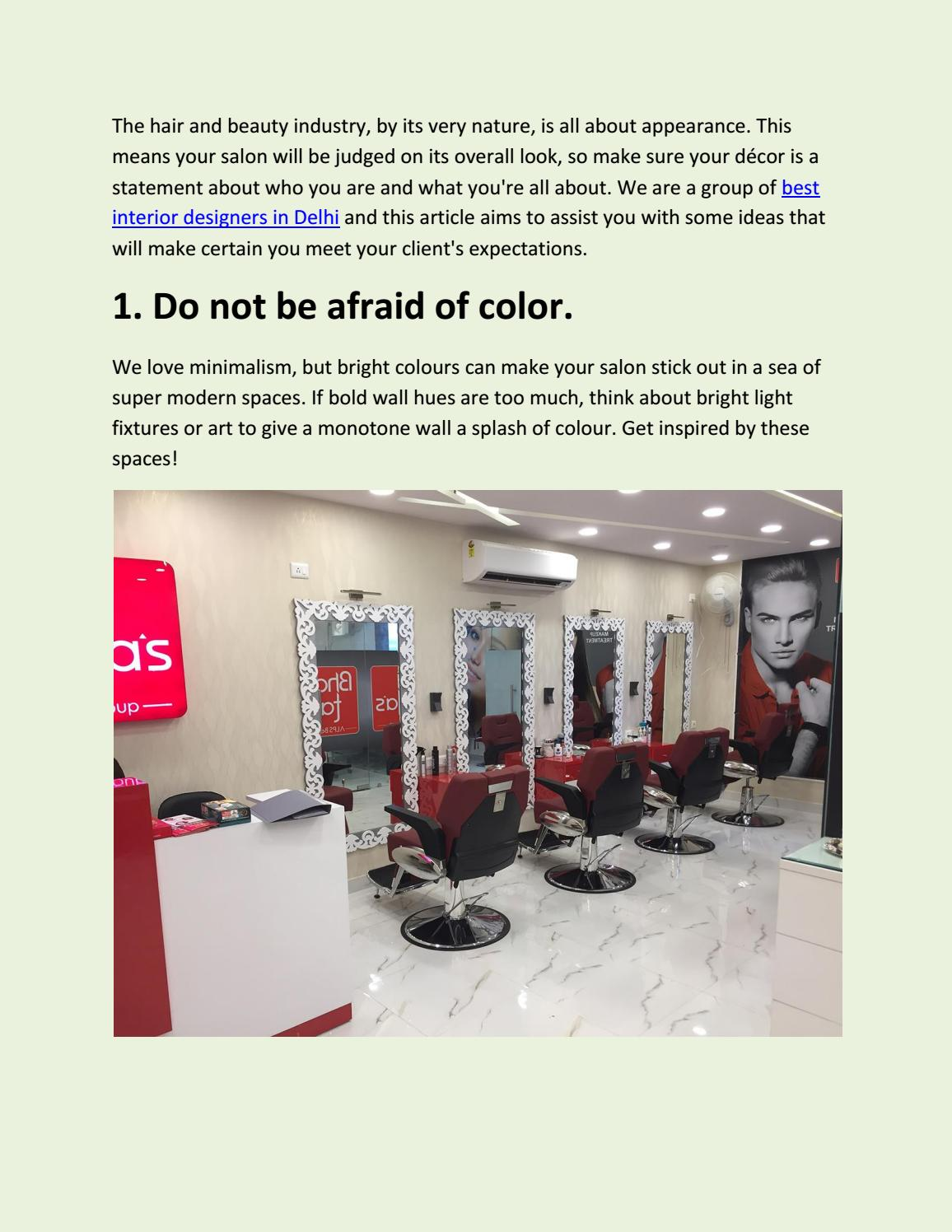 Top 10 Interior Designers For Salons In Delhi Ncr By Justinterio Issuu